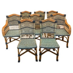 Charming Set of 8 Grange Stained Rattan and Wood Dining or Patio Chairs