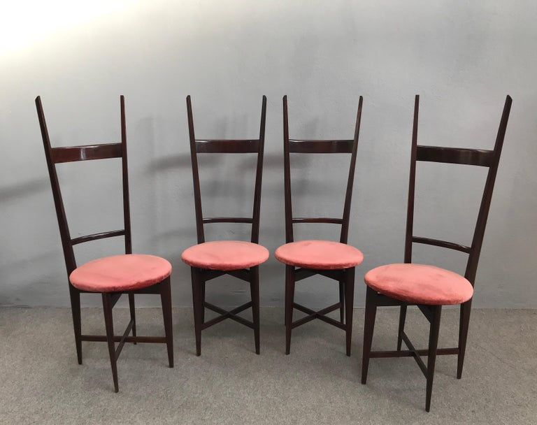 Four dining chairs in ash and round velvet seat, by Santambrogio e De Berti, Lissone, Italy.