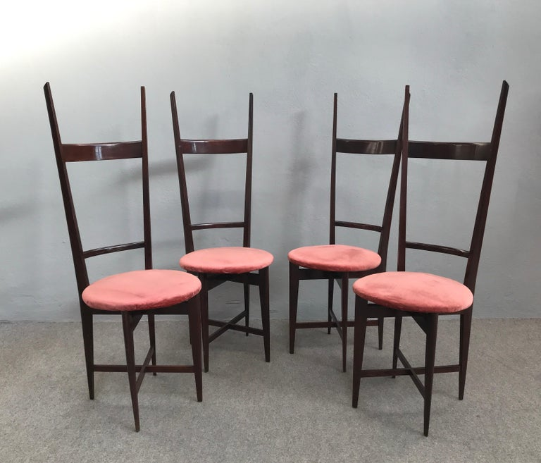 Mid-Century Modern Charming Set of Four Dining Chairs by Santambrogio e De Berti, Italy, 1950s For Sale