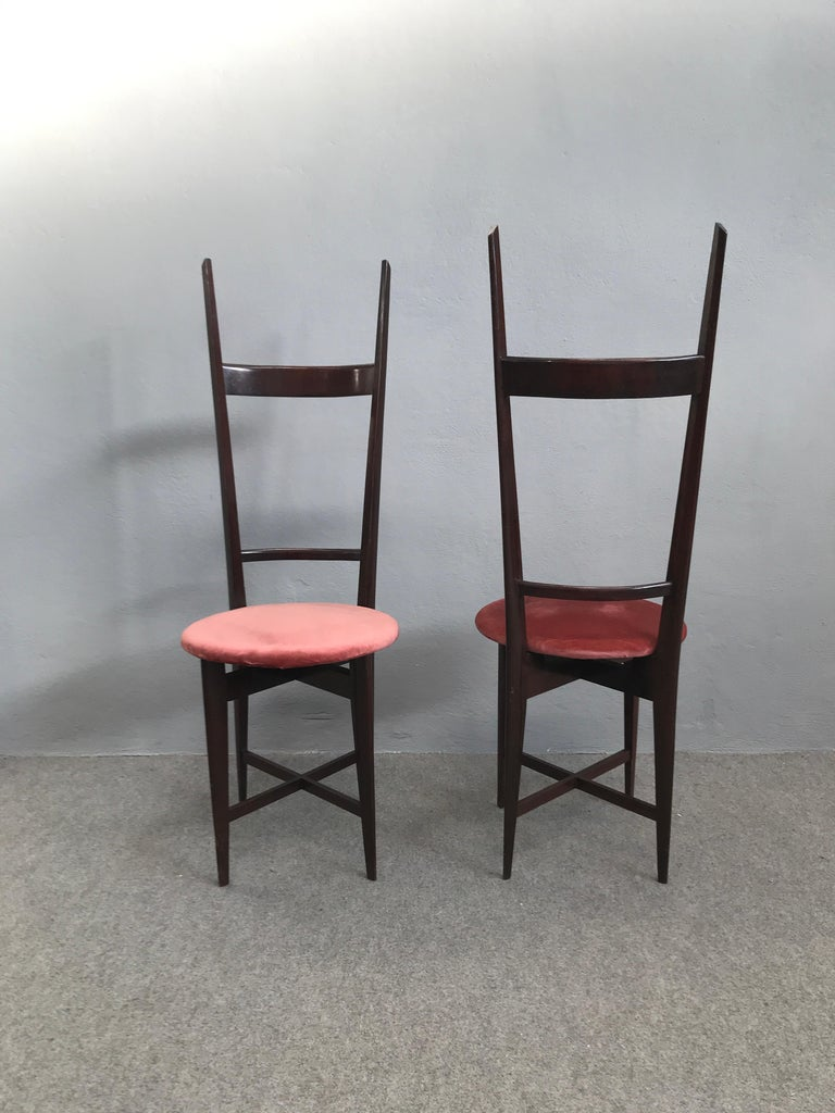 Mid-20th Century Charming Set of Four Dining Chairs by Santambrogio e De Berti, Italy, 1950s For Sale