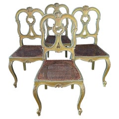 Charming Set of Four French Antique Louis XV Caned Dining Chairs