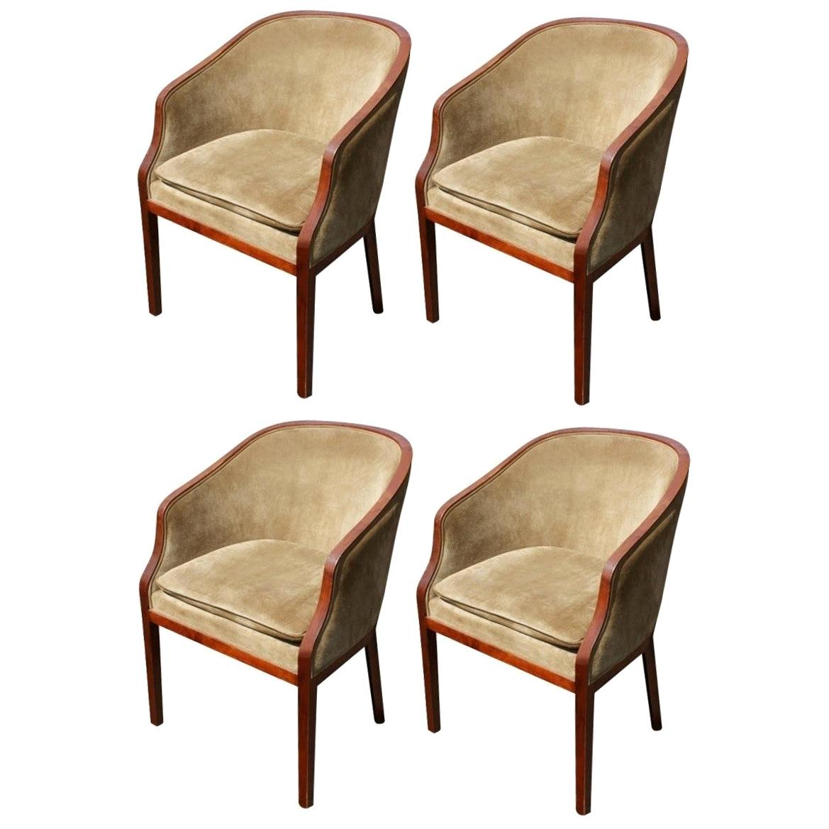 Charming Set of Four Suede Ward Bennett Brickel Armchairs