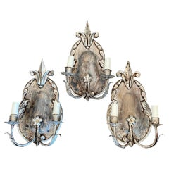 Charming Set of Three French Silver Gilt Sconces with Fleur-de-Lis