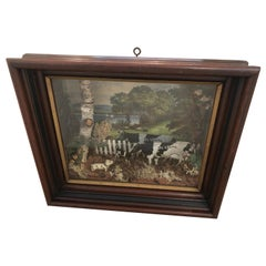 Charming Shadow Box Diorama of Pastural Scene with Cows