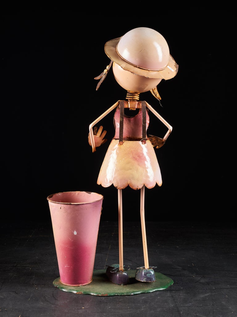 British Charming Tin Female Cartoon Model with Moving Head For Sale