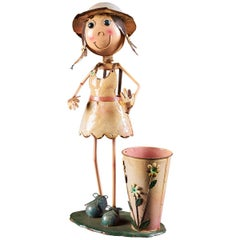 Charming Tin Female Cartoon Model with Moving Head