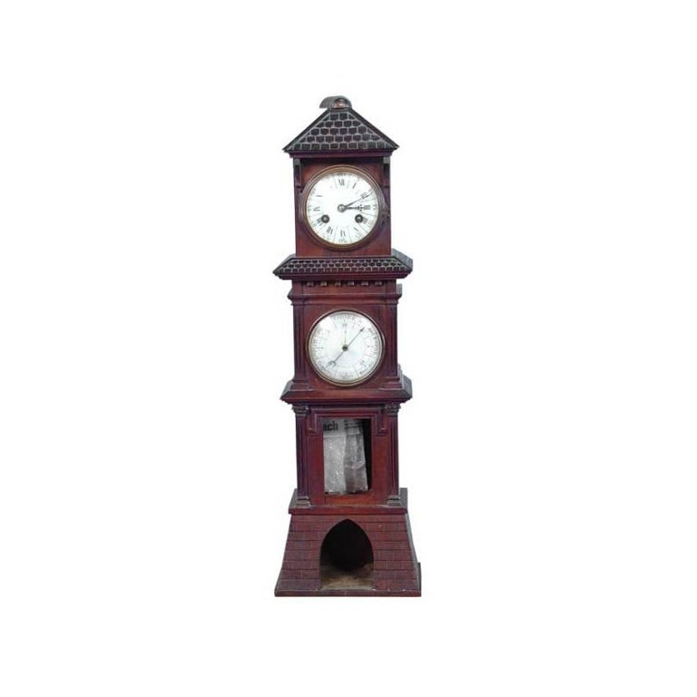 Charming Tower Mantel Clock and Barometer For Sale