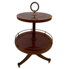 Charming Two-Tier Antique Mahogany and Tooled Leather Side Table
