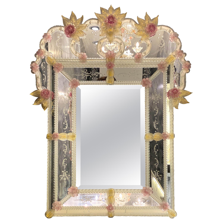 Charming Venetian Murano Glass Mirror with Pink Flowers