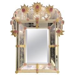 Charming Venetian Murano Glass Mirror with Pink Flowers