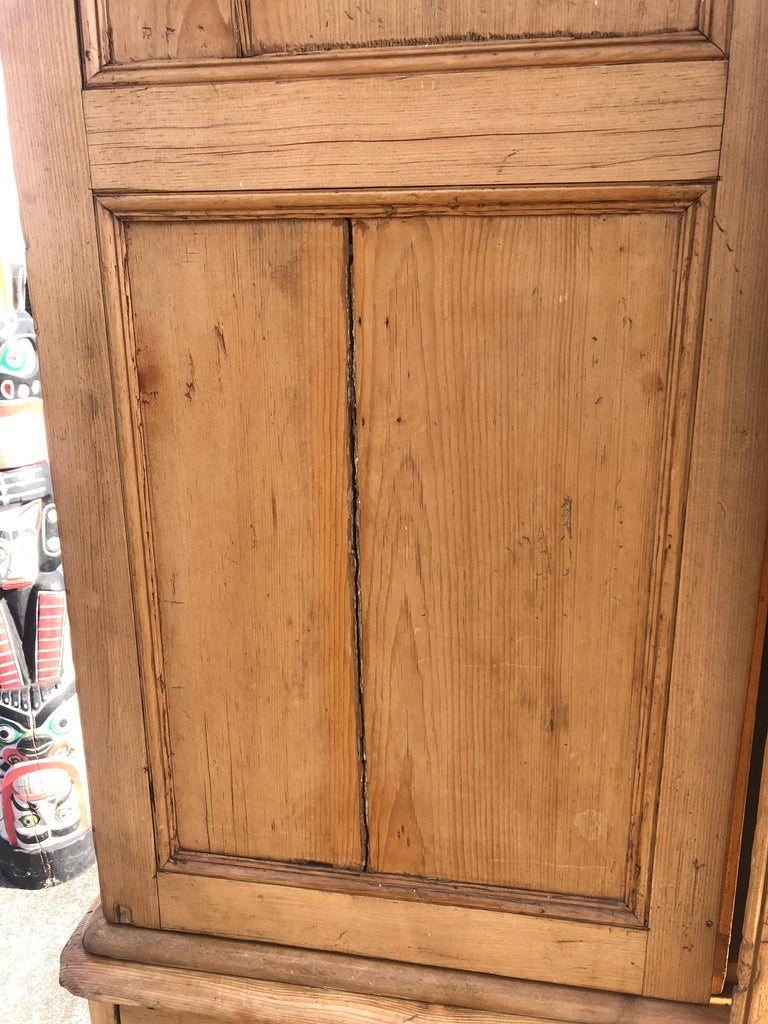 Charming Very Large Natural Pine Rustic Armoire Cabinet For Sale 5