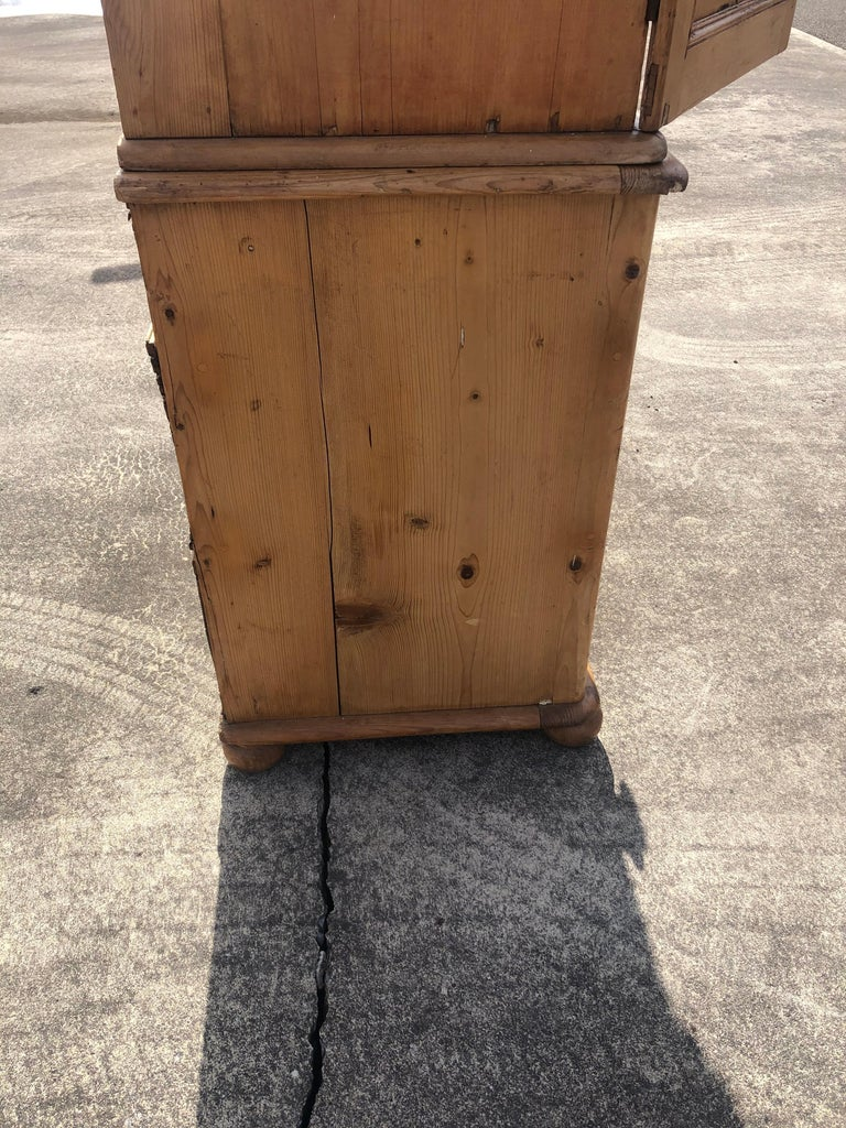 Charming Very Large Natural Pine Rustic Armoire Cabinet For Sale 7