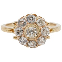 Charming Victorian 2.00 Carat Old Mine Diamond Quality Engagement Cluster Ring