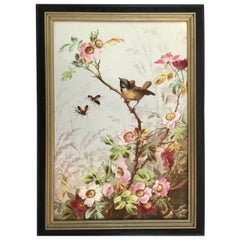 Charming Victorian Hand Painted Porcelain Tile of a Bird and Two Bees