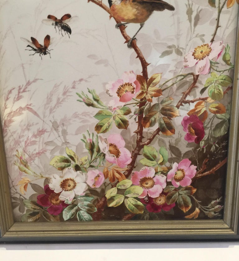 Charming Victorian Hand Painted Porcelain Tile of a Bird and Two Bees For Sale 5