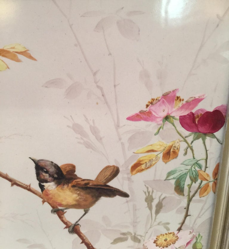 Charming Victorian Hand Painted Porcelain Tile of a Bird and Two Bees For Sale 7