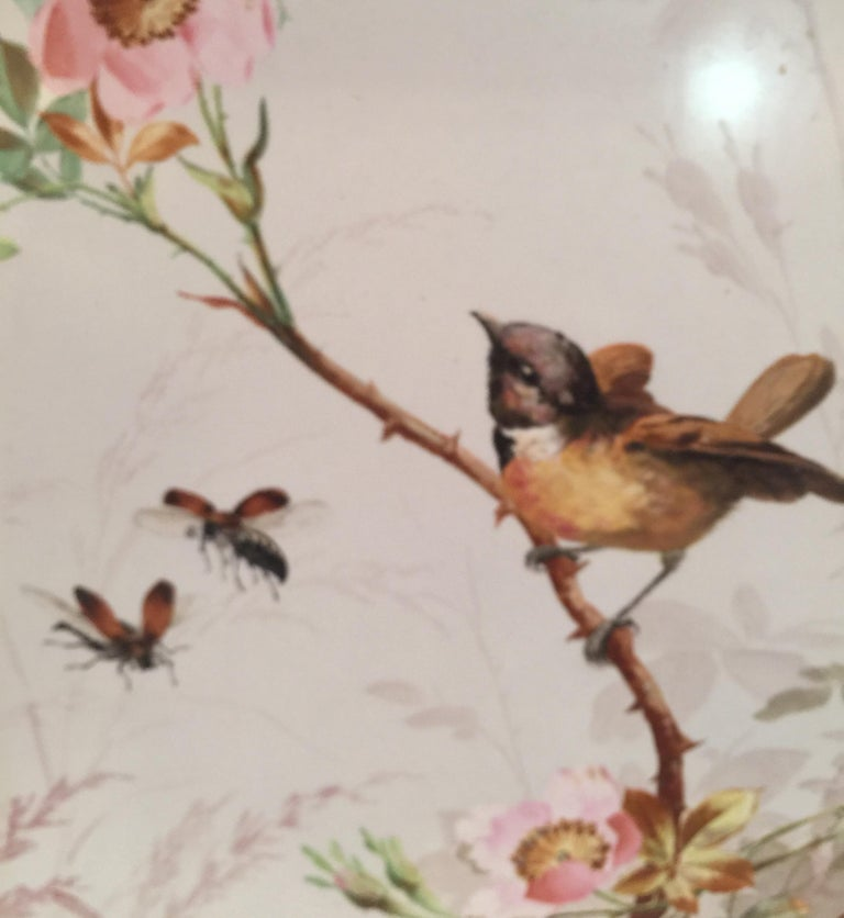 Charming Victorian Hand Painted Porcelain Tile of a Bird and Two Bees For Sale 9