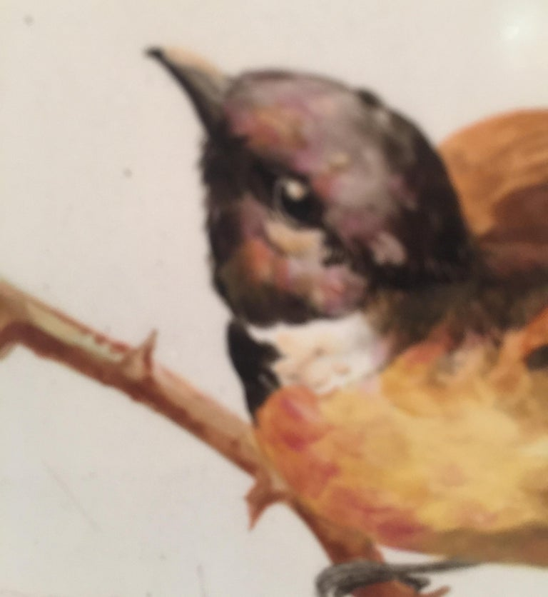 Charming Victorian Hand Painted Porcelain Tile of a Bird and Two Bees For Sale 10