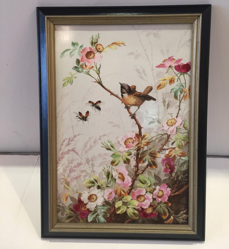 Charming Victorian hand painted Porcelain tile of a bird and two bees with flowers, circa 1880-1890 European origin, very good painting Dimensions: 14.5