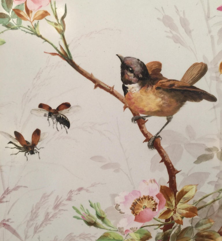 Charming Victorian Hand Painted Porcelain Tile of a Bird and Two Bees In Excellent Condition For Sale In Lambertville, NJ