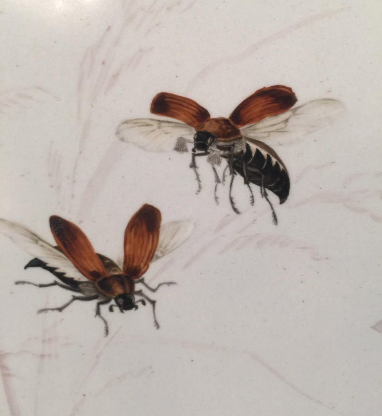 19th Century Charming Victorian Hand Painted Porcelain Tile of a Bird and Two Bees For Sale