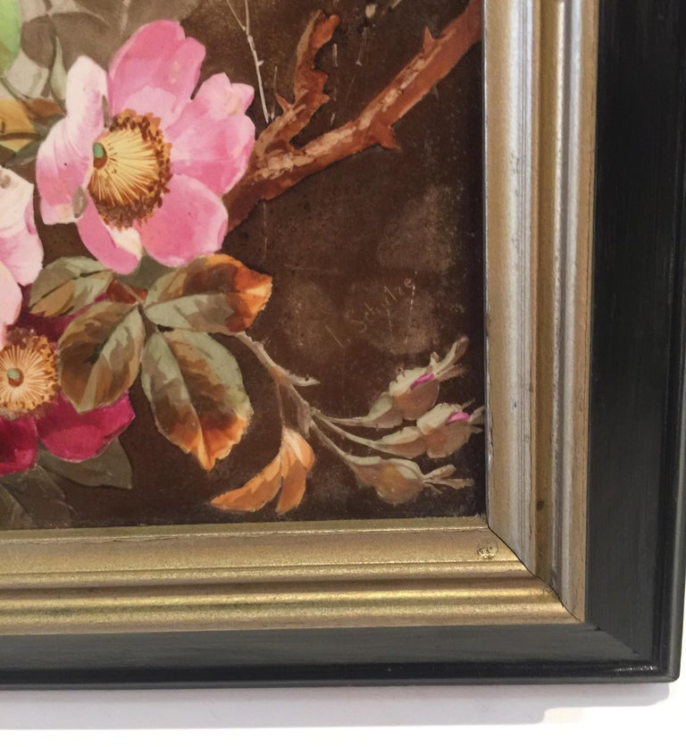 Charming Victorian Hand Painted Porcelain Tile of a Bird and Two Bees For Sale 1