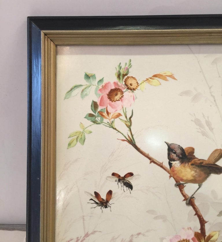 Charming Victorian Hand Painted Porcelain Tile of a Bird and Two Bees For Sale 4