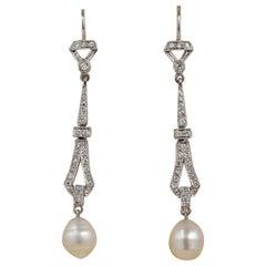 Charming Vintage .90 Carat Diamond Baroque Salt Sea Cultured Pearl Drop Earrings