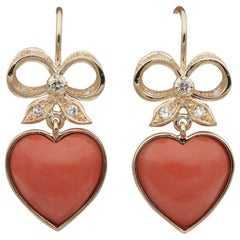 Charming Vintage Coral Bow Heart Diamond Drop Earrings