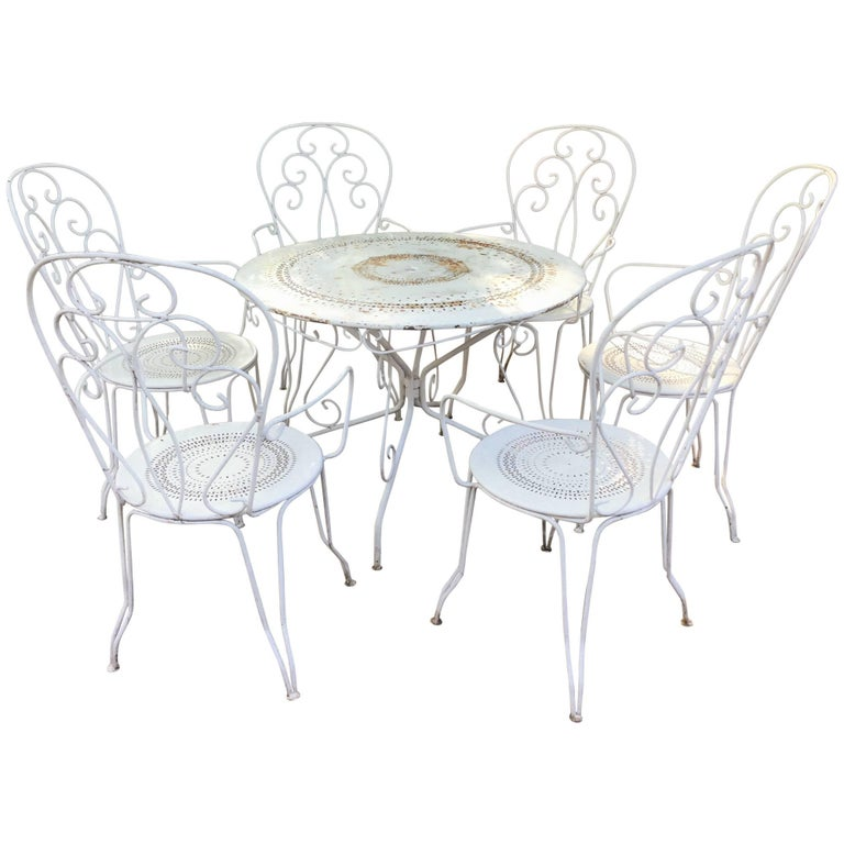 Dining Table And Chairs For Sale: Charming Vintage French Bistro Dining Table And Chairs For