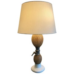 Charming Vintage French Rattan Covered Glass Seltzer Bottle Lamp