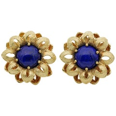 Charming Vintage Lapis Large Flower Earring