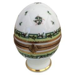 Charming Vintage Limoges Porcelain Egg Shaped Trinket Box