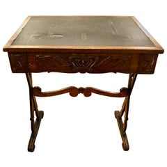 Charming Weathered Antique English Carved Oak End Table with Crown