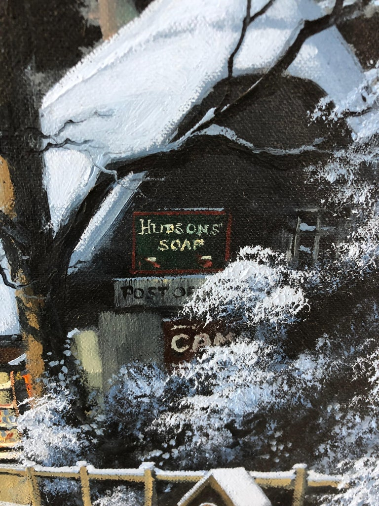 English Charming Winter Night Scene Oil Painting For Sale