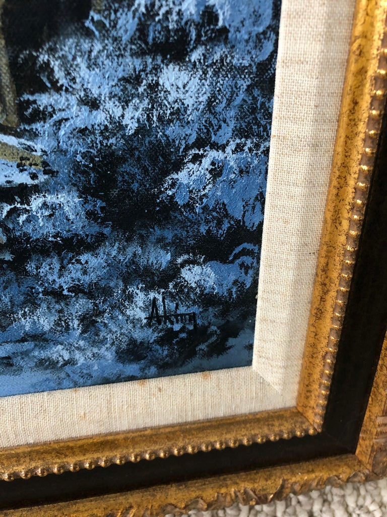 1950s Charming Winter Night Scene Oil Painting For Sale