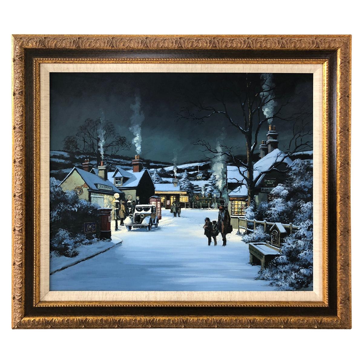 Charming Winter Night Scene Oil Painting