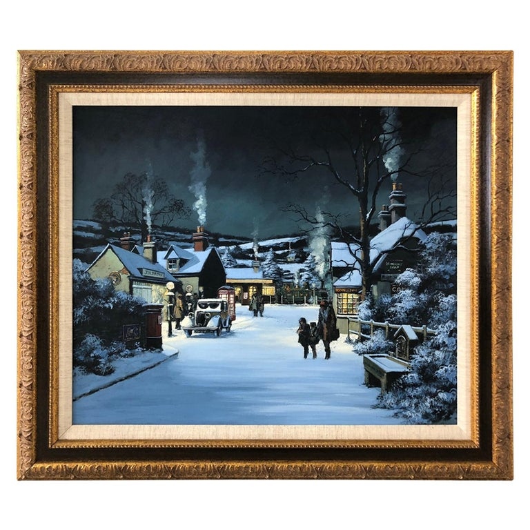 Charming Winter Night Scene Oil Painting For Sale