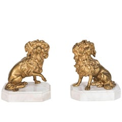 Charming, 19th Century, Gilt Bronze Dogs