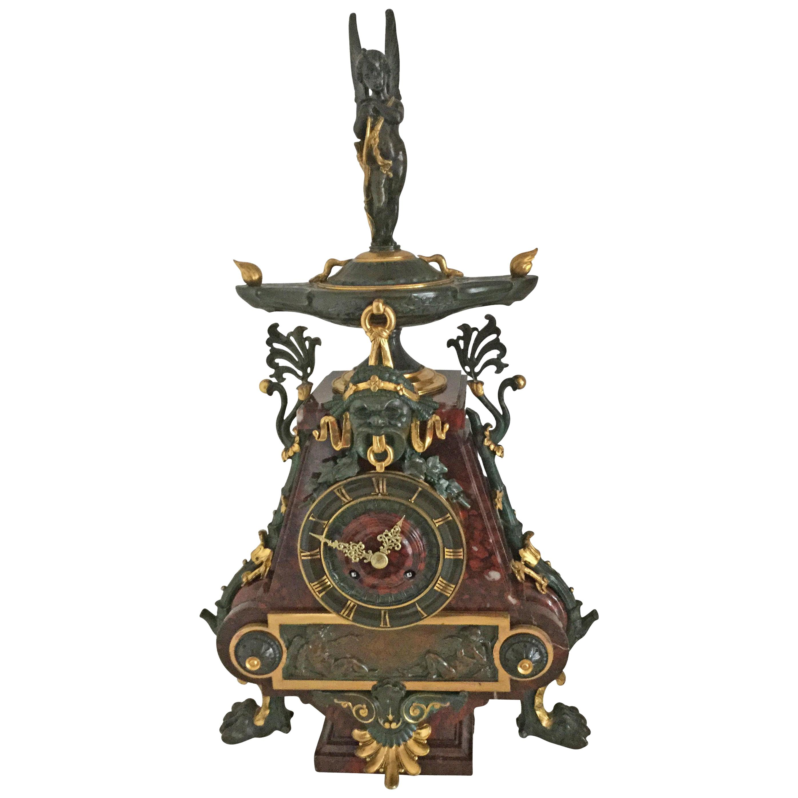 French Gilt Bronze and Rouge Marble Mantel Clock by Charpentier Paris Circa 1880