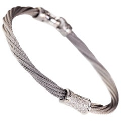 Charriol 0.10 Carat Diamond Steel Cable Bracelet with White Gold Accent