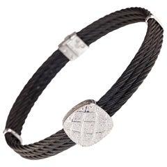 Charriol 18 Karat Gold and Steel Three-Row 0.20 Carat Diamond Plaque Bracelet