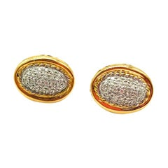 Charriol, 18 Karat Pave Diamond Rope, Earring Studs