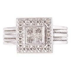Charriol 18 Karat White Gold 1.00 Carat Diamond Ring, Flamme Blanche Collection