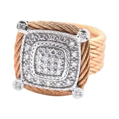 Charriol 18 Karat White Gold and Pink Stainless Steel Diamond Pave Cable Ring