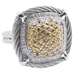 Charriol 18 Karat White Gold Pave Yellow Sapphire and Diamond Dome Cable Ring
