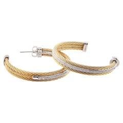 Charriol 18 Karat Yellow Gold Diamond Hoop Earrings