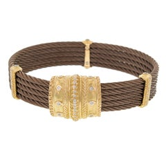 Charriol Celtique Cuff Bracelet in 18 Karat Yellow Gold with Diamonds