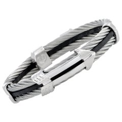 Charriol Crazy in Love Again Stainless Steel and Black Rubber Bracelet Size XL