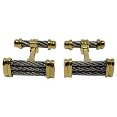 Charriol Cufflinks in 18 Karat Yellow Gold and Stainless Steel